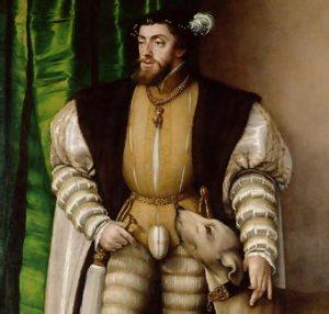 Carlos I de España y V de Alemania con el collar de la orden.